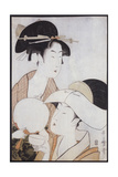 Bust Portrait of Two Women, One Holding a Fan, the Other with a Head Cover Holding a Tea Cup Giclee Print by Kitagawa Utamaro