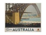 Australia, Constructing the Sydney Harbor Bridge Travel Poster Giclée-Druck