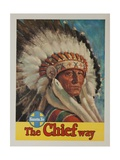 The Chief Way, Santa Fe Railroad Travel Poster Reproduction procédé giclée