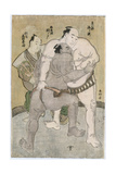 Wrestling Bout Between the Komusubi of Uzugafuchi Kan'Dayu and the Maegashira of Sekinoto Hachiroji Giclee Print by Katsukawa Shunsho