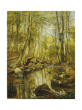 A Wooded River Landscape Giclee Print by Peder Monsted