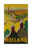 Holland Canal Travel Poster Impression giclée