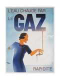 Gaz French Advertising Poster, Hot Water Fast with Gas Giclee Print