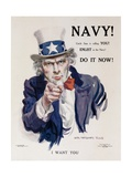 Navy! Uncle Sam Is Calling You! American Wwi Recruiting Poster Giclée-tryk