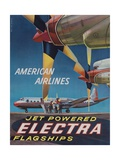 American Airlines Jet Powered Electra Flagship Travel Poster Giclee Print