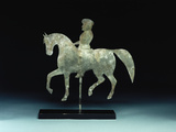 A Silhouette Horse-And -Rider Weathervane Photographic Print