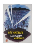 American Airlines, Los Angeles Travel Poster Searchlights Giclee Print