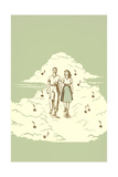 Couple Strolling on Cloud with Musical Notes Impression giclée