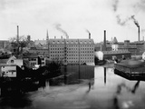 Mills and Smokestacks in Lowell, Massachusetts Photographic Print