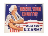 Defend Your Country, Enlist Now Us Army Wwii Poster Giclee Print