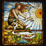 Tiffany Studios Leaded and Plate Glass Window Depicting a Young Woman Fotografická reprodukce