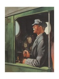 Train Engineer at Work Giclee Print