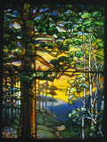 Tiffany Studios Landscape Window Depicting a Meandering Stream Shaded Lámina fotográfica