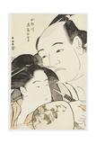 Okubi-E Portraits of the Wrestler Onogawa Kisaburo and the Noted Beauty Ohisa of the Takashimaya Giclee Print by Katsukawa Shuncho