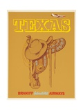Braniff International Airways Travel Poster Texas Saddle Giclee Print