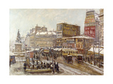 Paris, Place Clichy under Snow Giclee Print by Georges Barwolf