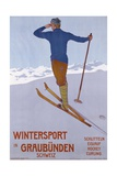 Wintersport in Graubunden Poster Giclee Print by Walter Koch