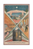 Summer Nights, London Underground, 1920s Giclee Print