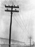 Telephone Poles in Snowy Weather Fotografie-Druck