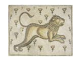 A Byzantine Marble Mosaic Panel Depicting a Lion in a Field of Flowers Giclee Print