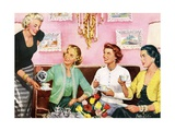 Four Happy Housewives Having Tea Giclée-Druck