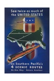 Southern Pacific's 4 Scenic Routes Travel Poster Giclee Print