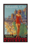 Pennsylvania Railroad Travel Poster, Atlantic City Bathing Beauty Giclee Print
