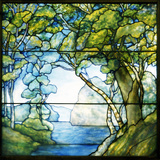 Tiffany Studios Leaded Glass Landscape Window Depicting a Passage to the Sea Photographic Print