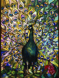 Tiffany Studios 'Peacock' Leaded Glass Domestic Window Reproduction photographique