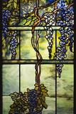 Detail of Tiffany Studios Leaded Glass Triptych Window (Wisteria) Fotografická reprodukce