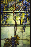 Detail of Tiffany Studios Leaded Glass Triptych Window (Wisteria) Photographic Print