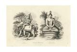 Engraving of Indra and Gautama Buddha Giclee Print