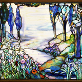 Tiffany Studios Leaded Glass Landscape Window Photographic Print