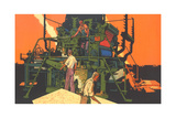 Workers with Big Machine Giclee Print