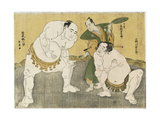 Onogawa Kisaburo and Tanikaze Kajinosuke Performing the Shikiri in the Dohyo Giclee Print by Katsukawa Shunsho