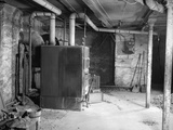 1930s-1940s Coal Burning Home Furnace in Basement Photographic Print