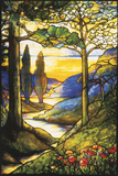 Tiffany Studios Leaded Glass Scenic Window Fotografisk tryk