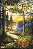 Tiffany Studios Leaded Glass Scenic Window Fotografická reprodukce