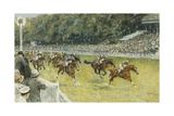 A Finish at Goodwood Giclee Print by Gilbert Holiday