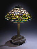 Tiffany Studios 'Cyclamen' Leaded Glass and Bronze Table Lamp Photographic Print