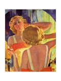 Woman Applying Make-Up in a Mirror Giclee Print