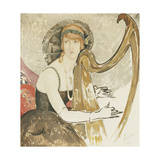 A Lady Playing a Harp Giclee Print by Gerda Wegener