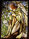 Tiffany Studios Stained Glass Window of a Kneeling Angel Photographic Print
