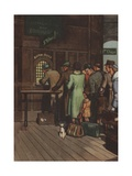 Passengers Waiting in Line for Tickets at Train Station Giclee Print