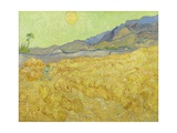 Wheat Fields with Reaper, Auvers Giclee Print by Vincent van Gogh