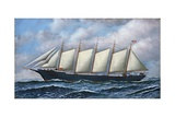 The Schooner Diria Giclee Print by Antonio Jacobsen