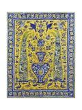 A Qajar Cuerda Seca Tile Panel Comprising Twenty Tiles Giclee Print