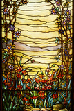 Tiffany Studios Leaded Glass Landscape Window Photographie