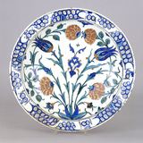 An Iznik Pottery Dish with Tulip and Peony Design, Circa 1575 Photographic Print