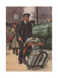 Porter with Suitcases at Train Station Giclee Print